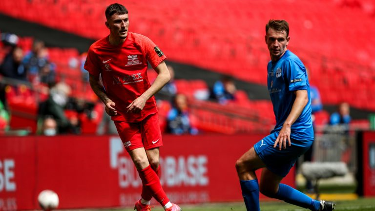 Asa Povey playing for Binfield at Wembley in the FA Vase Final. Photo: Neil Graham / ngsportsphotography.com