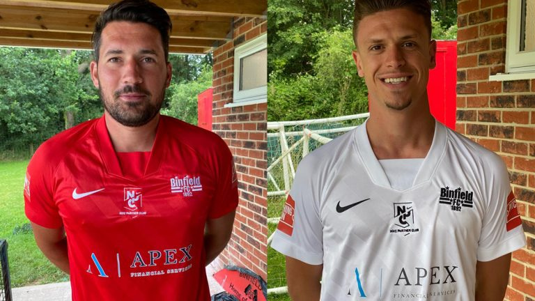 Tom Willment and Sean Moore model the new Binfield kits.